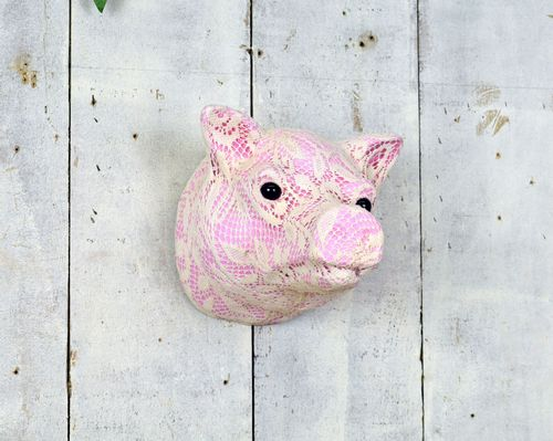 Lace Pink Pigs Head 21cm